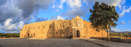 Panorama of external walls of Arcady monastery. Island of Crete, Greece. The panoramic image has been stitched from multiple photos Royalty Free Stock Image