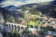 Panorama from Eze Chateau at The Viaduct of Eze Royalty Free Stock Photo