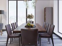 Panorama- fönster i lyxig matsal med trätabellen och piskar stolar bredvid ställer ut och märkes- hängande lampor royaltyfri illustrationer