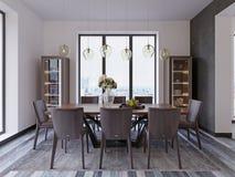 Panorama- fönster i lyxig matsal med trätabellen och piskar stolar bredvid ställer ut och märkes- hängande lampor stock illustrationer