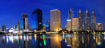 panorama för bangkok stadsnatt Royaltyfri Foto