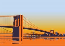 Panorama för Brooklyn bro i morgonsoluppgången New York City stock illustrationer