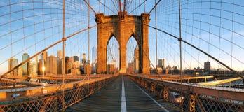 Panorama för Brooklyn bro i New York, Lower Manhattan royaltyfri fotografi