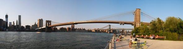 Panorama för Brooklyn bro, New York, September 2012 Royaltyfria Foton
