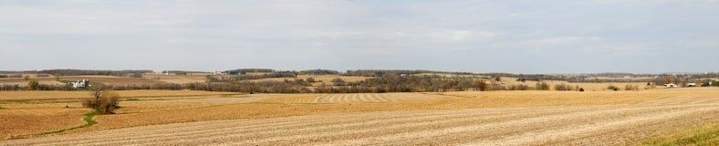 panorama för falllantgårdfält royaltyfria foton