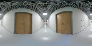 360 panorama för grad VR av en lång vit tom korridor Arkivbilder