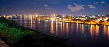 Panorama för havannacigarrfjärd- och stadshorisont på skymning Arkivfoto