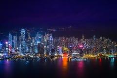Panorama för Hong Kong horisontnatt Royaltyfria Foton