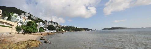 Panorama för Hong Kong kustTown Arkivbilder
