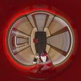 panorama för illustration 3d sfäriska 360 grader av korridorhotellet Arkivbilder