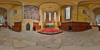 Panorama för 360 inre av Lutherandomkyrkan av helgonet Mary Chancel, Sibiu, Rumänien Arkivbilder