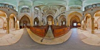 Panorama för 360 inre av Lutherandomkyrkan av St Mary, Sibiu, Rumänien Royaltyfria Bilder