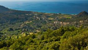 Panorama för kust för Samos önorr Arkivbild