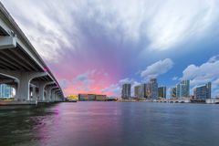 Panorama för Miami stadshorisont på skymning Royaltyfri Foto