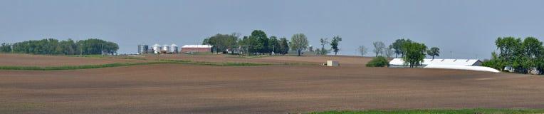 Panorama för Midwest lantgårdland arkivfoto