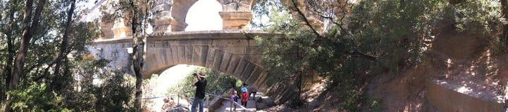 Panorama för Pont du Gard arkitekturdetalj, Frankrike Arkivbilder
