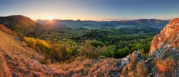 Panorama för Slovakien vårskog arkivbilder