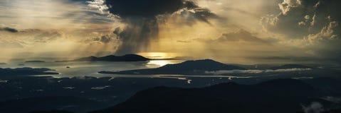 Panorama för solnedgånghavssikt Fotografering för Bildbyråer