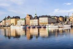 Panorama för Stockholm dagsljushorisont Arkivfoto
