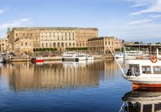 Panorama för Stockholm dagsljushorisont Royaltyfri Bild