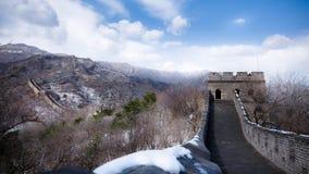 Panorama för stor vägg i den insnöade Peking, Kina Royaltyfri Bild