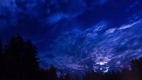 Panorama för timelapse för blå himmel för natt med stjärnor och moln stock video
