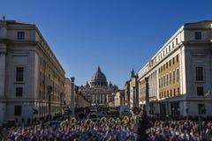 Panorama för Vaticanensan pietro rome conciliazione Arkivbild