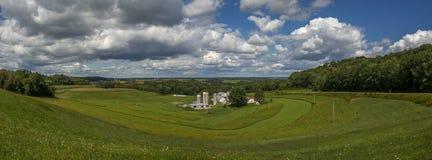 Panorama för Wisconsin lantgårdland royaltyfri foto