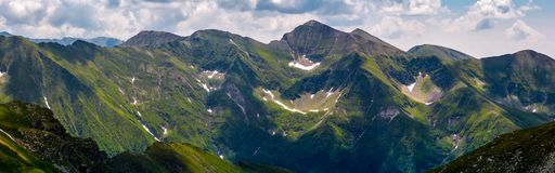 Panorama of Fagaras mountain ridge. Beautiful landscape with rocky cliffs and grassy slopes in summertime Stock Image