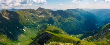 Panorama of Fagarasan mountain ridge in summertime. Lovely landscape with cliffs and grassy hills over the valley. TransFagarasan road in the left corner runs Royalty Free Stock Image