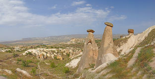 Panorama, Fairy chimneys and balancing rocks Stock Photos