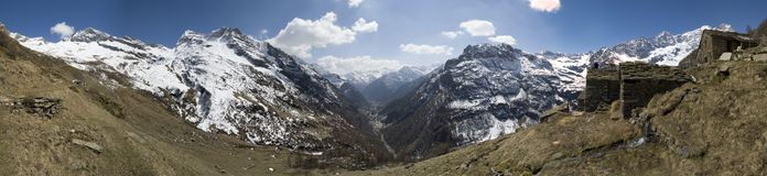 Panorama from Faller village. The sight from the Faller village on alps (2'200m), few house, blue sky, spot clouds.Spring day Stock Photography
