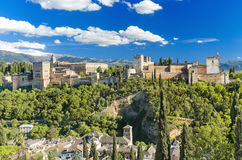 Panorama of the famous Alhambra palace in Granada, Spain. Stock Photos