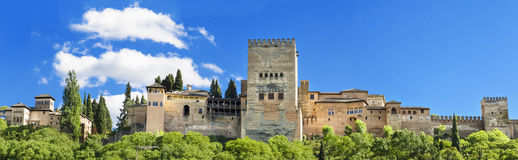 Panorama of the famous Alhambra palace in Granada, Spain. Stock Images