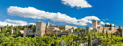 Panorama of the famous Alhambra palace in Granada, Spain. Royalty Free Stock Photo