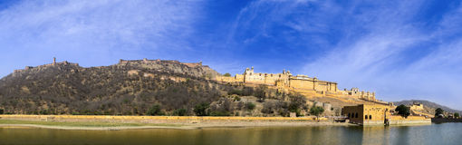 Panorama of famous Amer Amber fort of Rajasthan stock image
