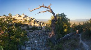 Panorama of famous Gordes medieval village sunrise view, Provence Stock Photo