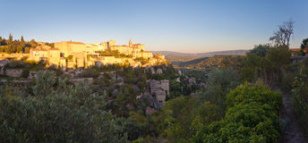 Panorama of famous Gordes medieval village sunrise view,Provence Royalty Free Stock Images