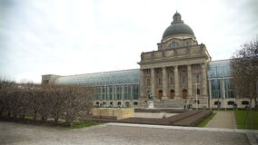 Panorama of famous Hofgarten Royal Residence and the�glass State Chancellery. Stock footage stock video