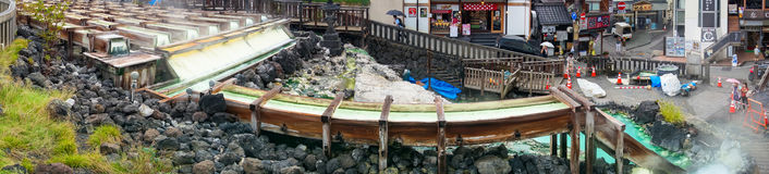 Panorama of famous Kusatsu hot spring and town. Kusatsu, Japan - September 7, 2016: Panorama of famous Yubatake hot spring, onsen Royalty Free Stock Images