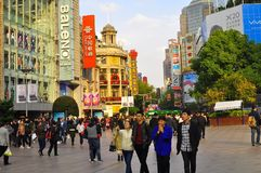 Panorama of the famous Nanjing Road in Shanghai China. The famous Nanjing Road in Shanghai China. Nanjing road is the main shopping street of Shanghai, China Royalty Free Stock Images