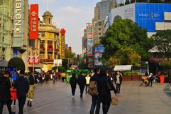 Panorama of the famous Nanjing Road in Shanghai China. The famous Nanjing Road in Shanghai China. Nanjing road is the main shopping street of Shanghai, China Stock Photography