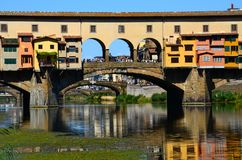 Panorama of the famous Old Bridge Ponte Vecchio and Uffizi Gallery with blue sky in Florence as seen from Arno river Stock Photography