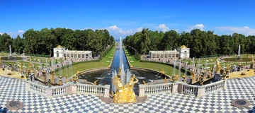Panorama of famous petergof fountains in St. Petersburg Stock Image
