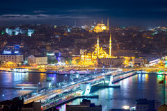 Panorama of the famous places of Istanbul at night Stock Images