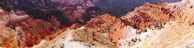 Panorama, fantasticly eroded red Navajo sandstone pinnacles Royalty Free Stock Photo
