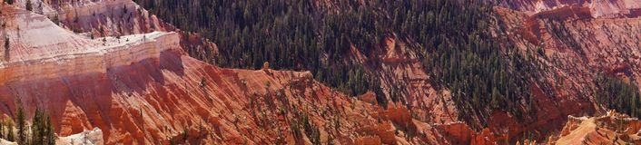 Panorama, fantasticly eroded red Navajo sandstone pinnacles. And cliffs Cedar Breaks National Monument, Utah royalty free stock photo