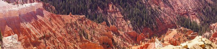 Panorama, fantasticly eroded red Navajo sandstone pinnacles. And cliffs Cedar Breaks National Monument, Utah royalty free stock photos