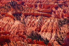 Panorama, fantasticly eroded red Navajo sandstone pinnacles. And cliffs Cedar Breaks National Monument, Utah stock image
