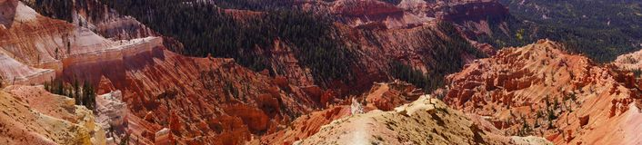 Panorama, fantasticly eroded red Navajo sandstone pinnacles Royalty Free Stock Image